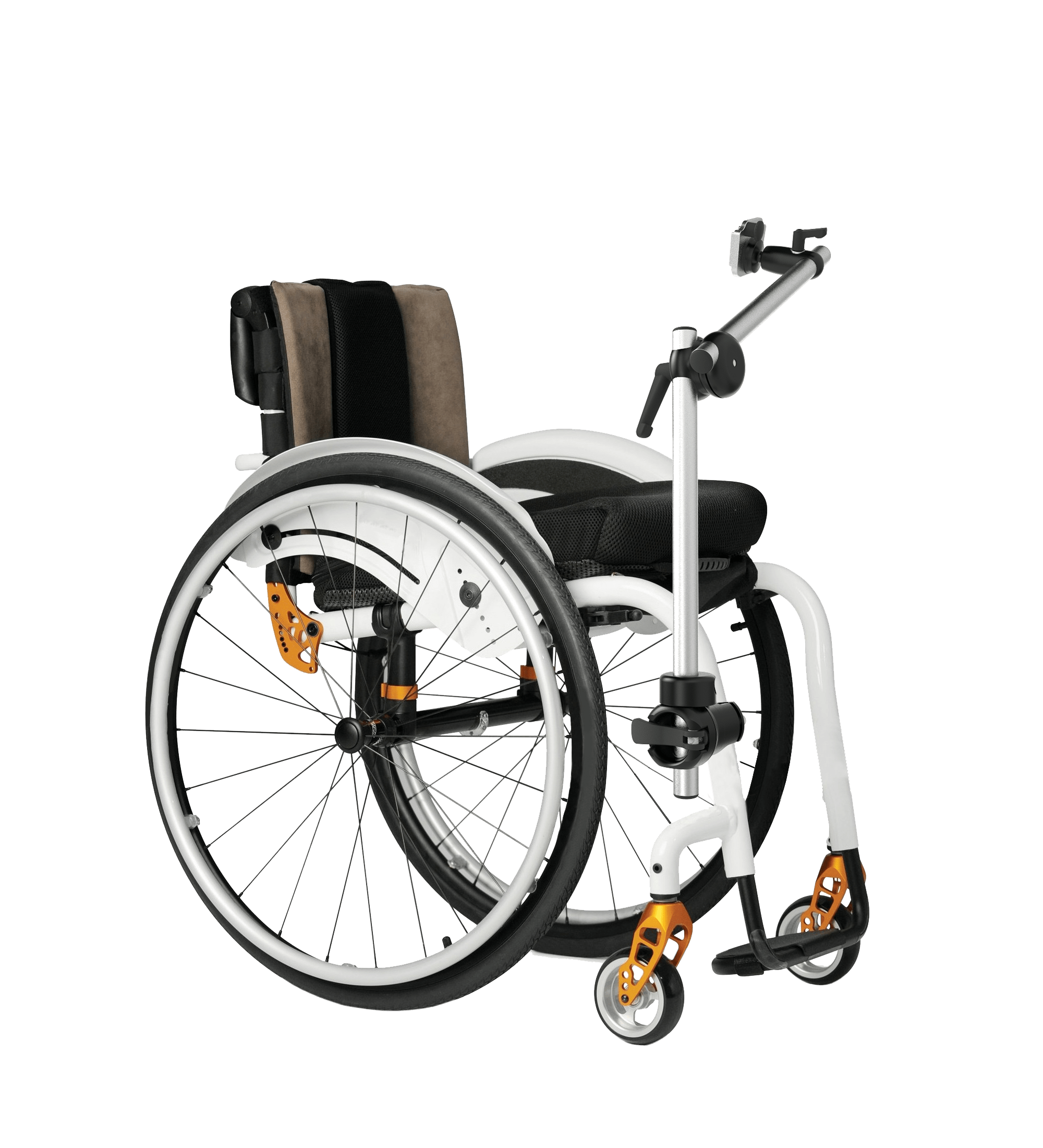 Short wheelchair mount for an AAC device mounted on a wheelchair