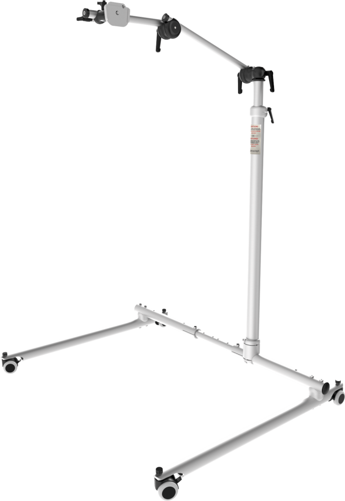 Classic Vario floor stand with adjustable height and base, by Rehadapt