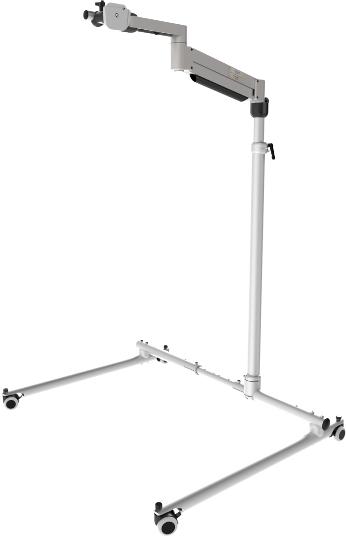 Classic Vario floor stand with adjustable height and width, with floating arm, by Rehadapt