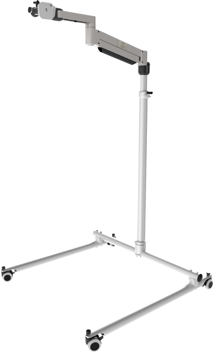 Classic Tele floor stand with adjustable height and floating arm, by Rehadapt