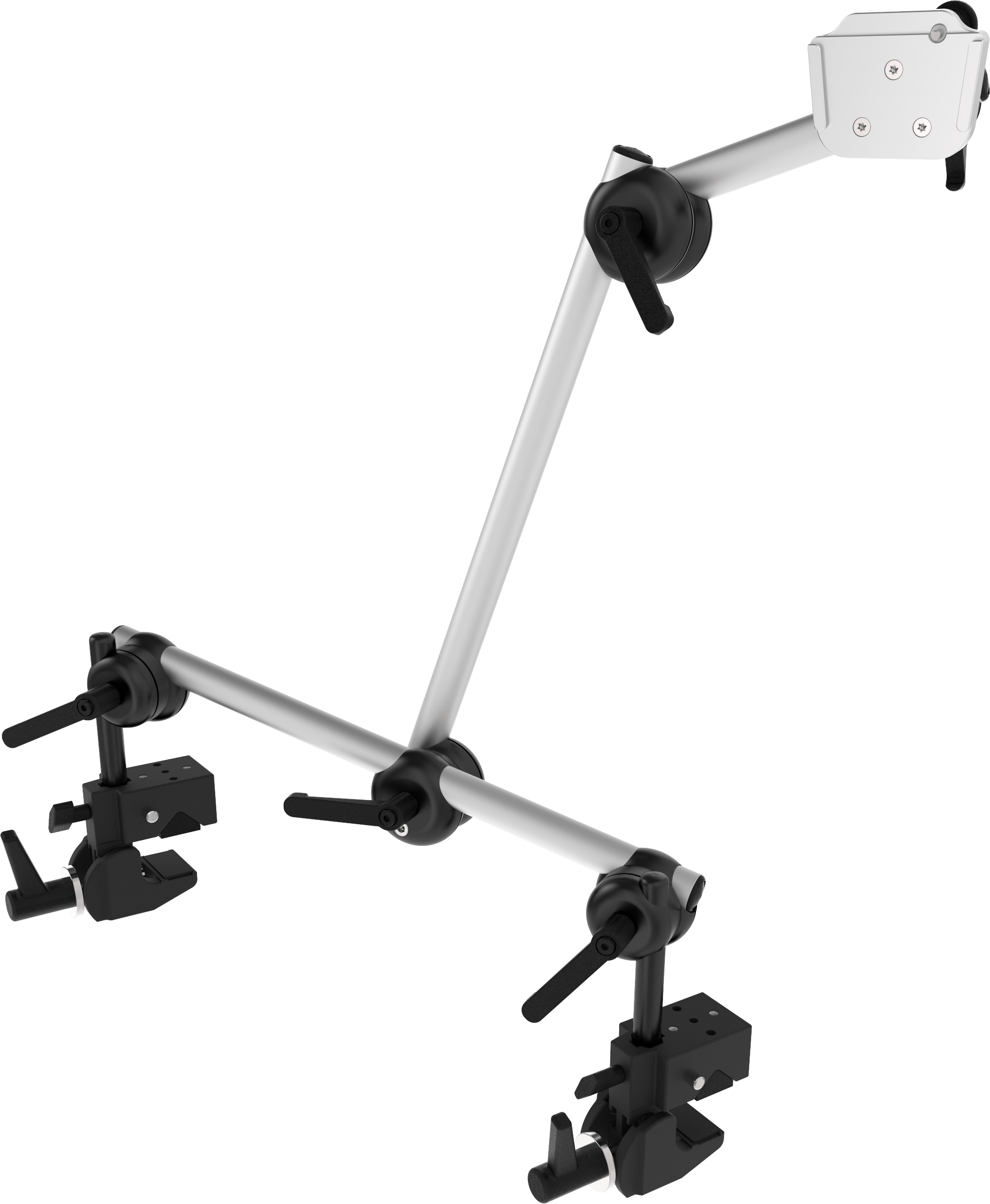 Durable Monty 3D table mount system with dual corner clamp for heavy devices, by Rehadapt