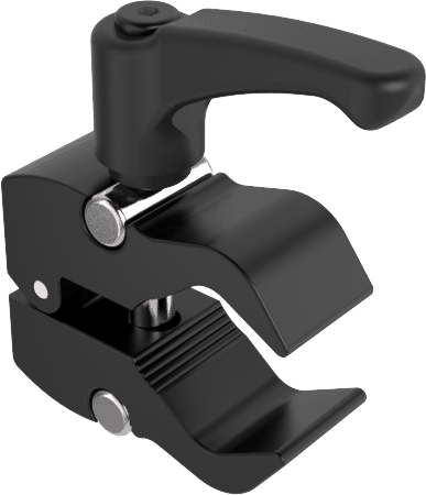 Small tube clamp for 13 to 35mm tubes with rubberized clutches for easy mounting of switches etc. on wheelchair.