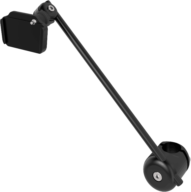 Light 3D wheelchair mount for AAC device, with with quick release, by Rehadapt