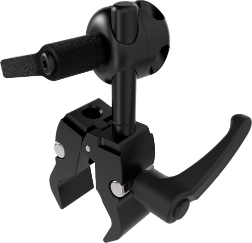 Small universal Tube clamp for 13 to 35 mm tubes with rubberized clutches for easy mounting of switches to wheelchair, by Rehadapt