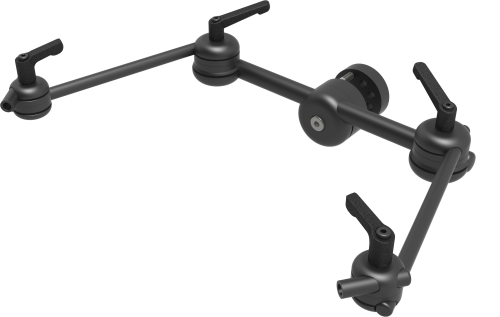 Light 3D dual switch mount to position 2 switches at wheelchair headrest, with levers, by Rehadapt