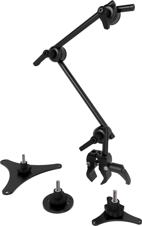 Universal mount kit for switches, to mount them to a wheelchair. Includes small Tube clamp, two tubes, QuickShift joints and the three most popular switch mount plates, by Rehadapt