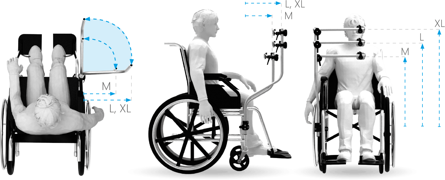The curved wheelchair mounts come in three different sizes, giving you the offset that suits you the best.
