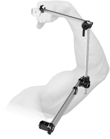 Double tubing makes the mount more rigid to hold en eye controlled device.